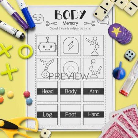 ESL English Body Memory Game Activity Worksheet