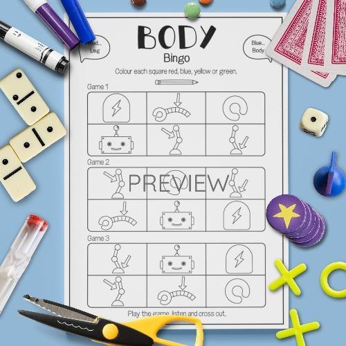 ESL English Body Bingo Game Activity Worksheet