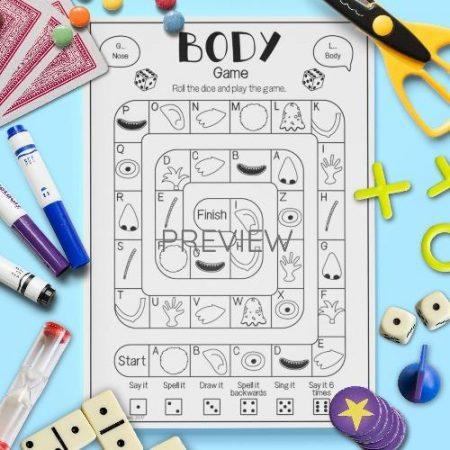 ESL English Body Board Game Activity Worksheet