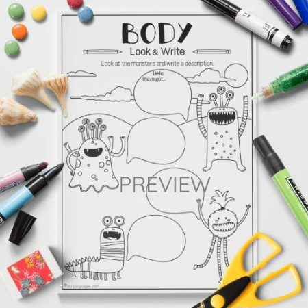 ESL English Body Monster Look And Write Activity Worksheet