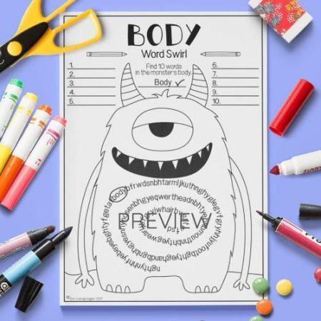 ESL English Body Monster Word Swirl Activity Worksheet