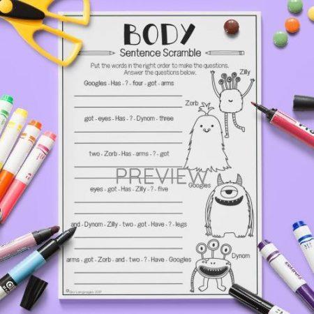 ESL English Body Sentence Jumble Activity Worksheet