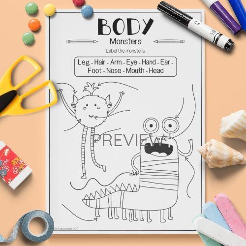 ESL English Body Monster Labelling Activity Worksheet