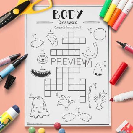 ESL English Body Crossword Activity Worksheet