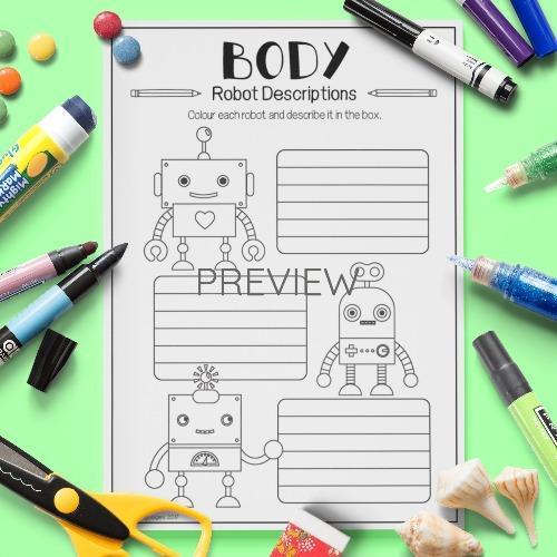 ESL English Body Robot Descriptions Activity Worksheet