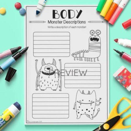ESL English Body Monster Descriptions Activity Worksheet