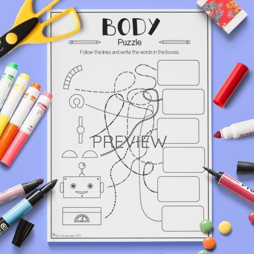 ESL English Body Robot Puzzle Activity Worksheet