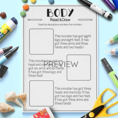 ESL English Body Monster Read And Draw Activity Worksheet