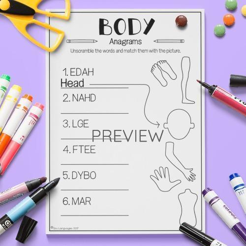 ESL English Body Anagrams Activity Worksheet