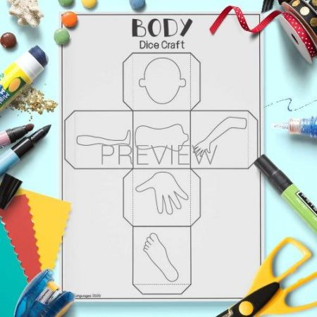 ESL English Body Dice Craft Activity Worksheet