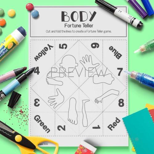 ESL English Body Fortune Teller Game Craft Activity Worksheet