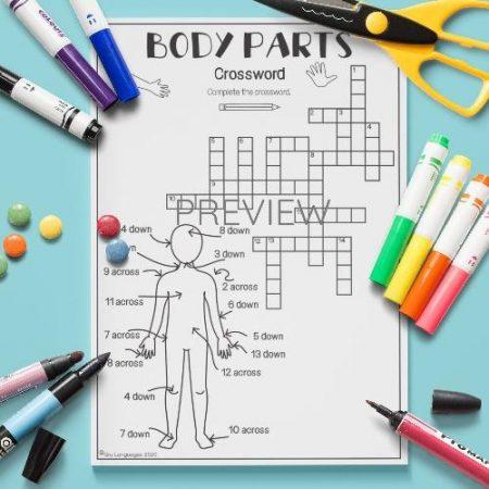 ESL English Body Parts Crossword Activity Worksheet