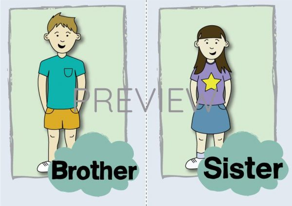 ESL English Brother Sister Flashcard