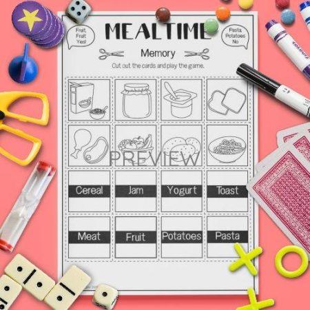ESL English Food Mealtimes Memory Game Activity Worksheet