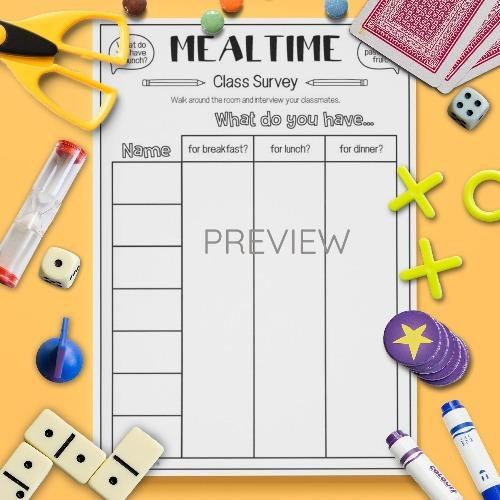 ESL English Food Mealtimes Class Survey Activity Worksheet