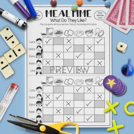 ESL English Food Mealtimes Gap Fill Game Activity Worksheet