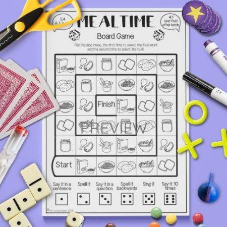 ESL English Food Mealtimes Board Game Activity Worksheet