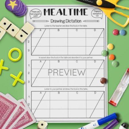ESL English Food Mealtimes Drawing Dictation Game Activity Worksheet