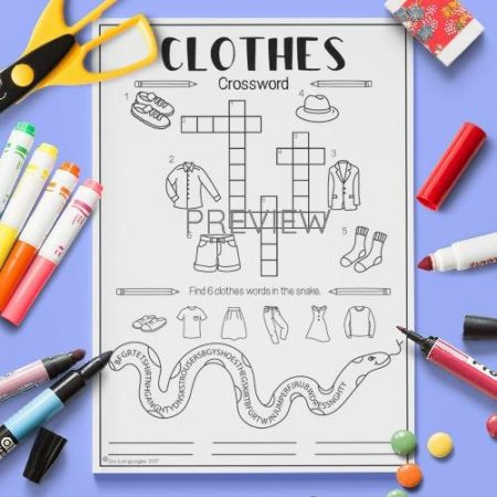 ESL English Clothes Crossword Activity Worksheet
