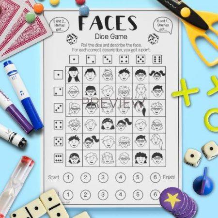 ESL English Face Dice Game Activity Worksheet
