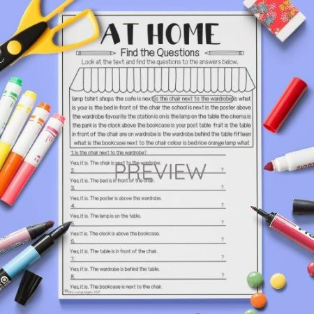 ESL English Home Find The Questions Activity Worksheet