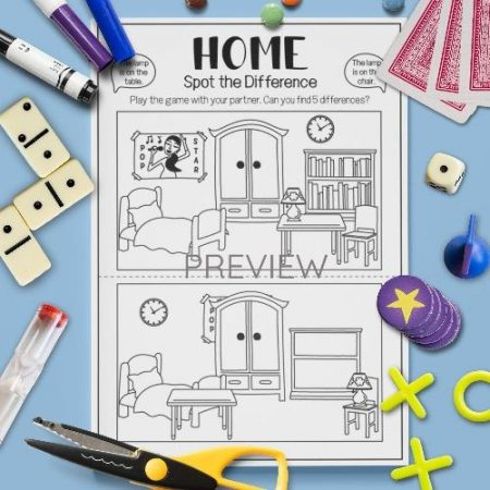 ESL English Home Spot The Difference Game Activity Worksheet