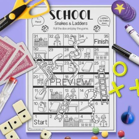 ESL English School Snakes And Ladders Game Activity Worksheet