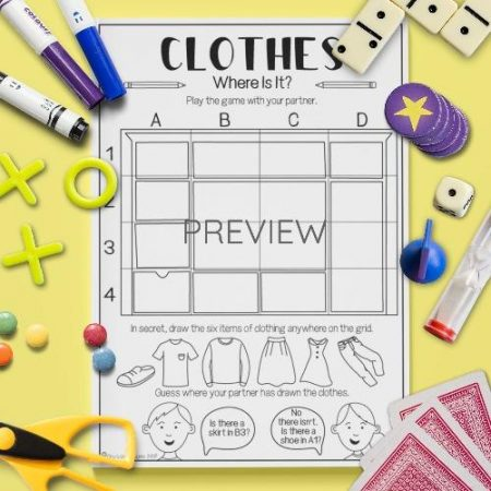 ESL English Clothes Where Is It Game Activity Worksheet
