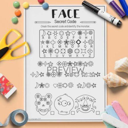 ESL English Face Secret Code Activity Worksheet