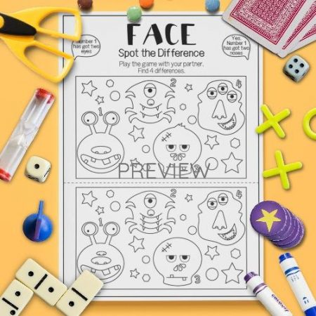 ESL English Face Spot The Difference Game Activity Worksheet