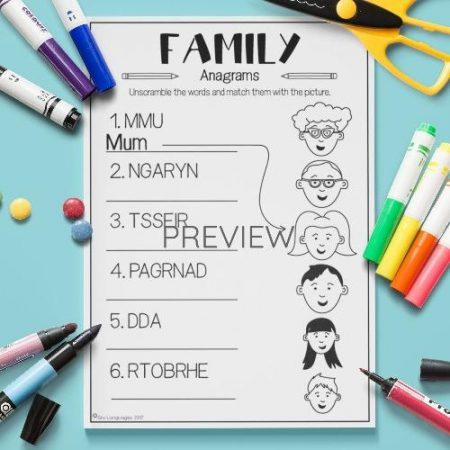 ESL English Family Anagrams Activity Worksheet
