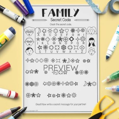 ESL English Family Secret Code Activity Worksheet