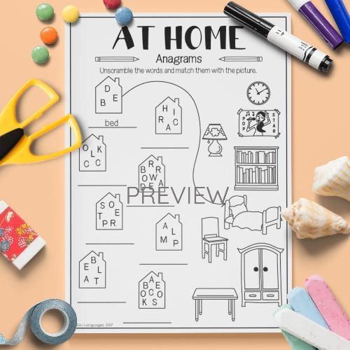 ESL English Home Anagrams Activity Worksheet