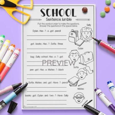 ESL English School Sentence Jumble Activity Worksheet