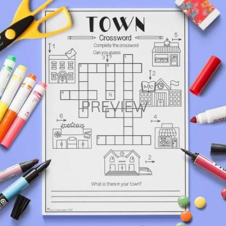 ESL English Town Crossword Activity Worksheet