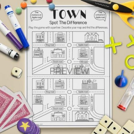 ESL Town Spot The Difference Game English Activity Worksheet