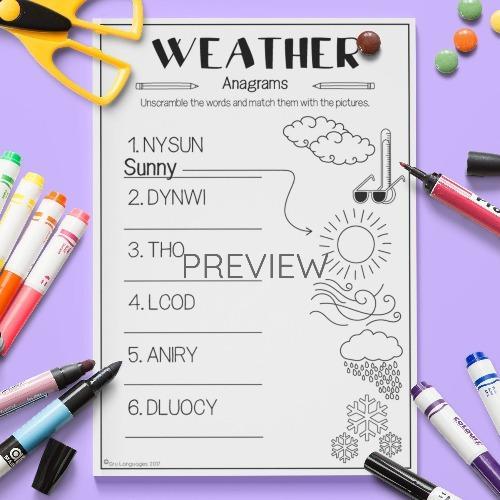 ESL English Weather Anagrams Activity Worksheet