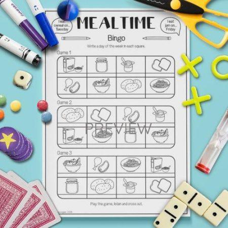 ESL English Food Mealtimes Bingo Game Activity Worksheet