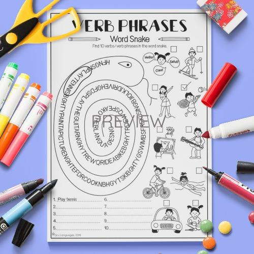 ESL English Verb Phrases Word Sanke Activity Worksheet