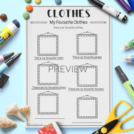 ESL English My Favourite Clothes Activity Worksheet