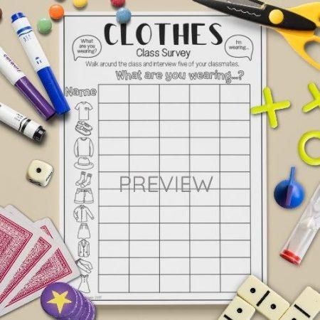 ESL English Clothes Class Survey Activity Worksheet