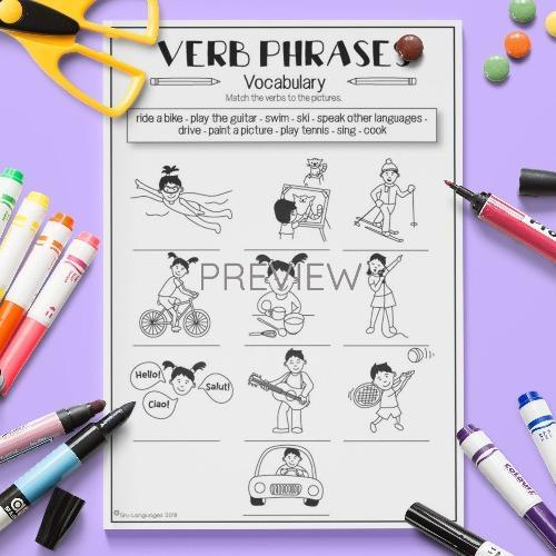 ESL English Common Verbs Vocabulary Activity Worksheet