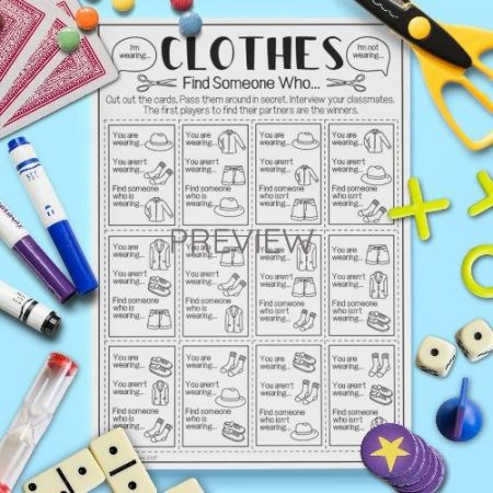 ESL English Clothes Find Someone Who Game Activity Worksheet