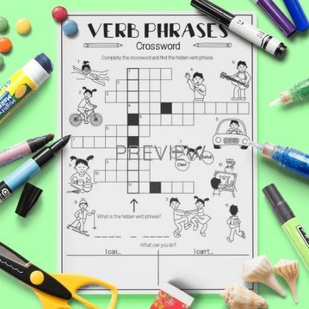 ESL English Verbs Crossword Activity Worksheet