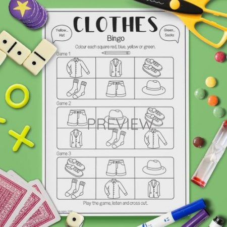 ESL English Clothes Bingo Game Activity Worksheet