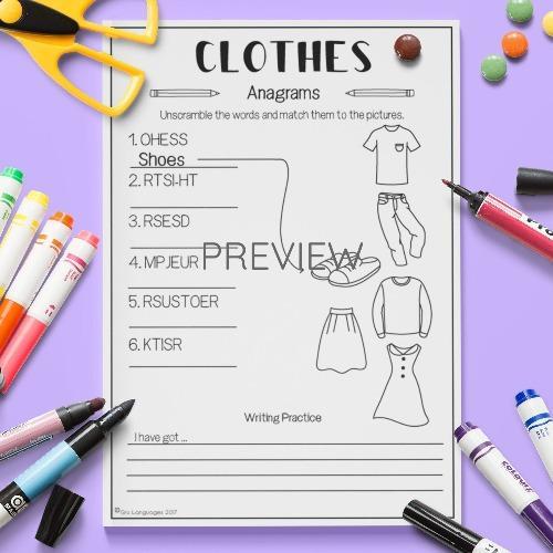 ESL English Clothes Anagrams Activity Worksheet