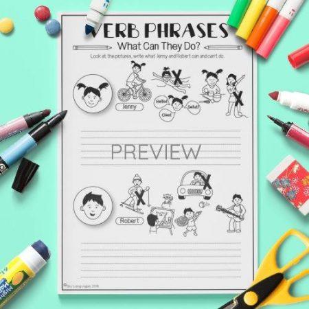 ESL English Verbs Writing Activity Worksheet