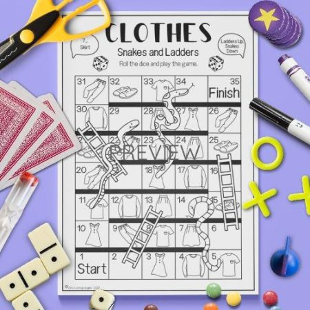 ESL English Clothes Snakes And Ladders Game Activity Worksheet