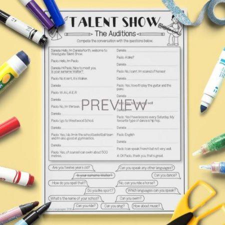 ESL English Talent Show Reading Activity Worksheet