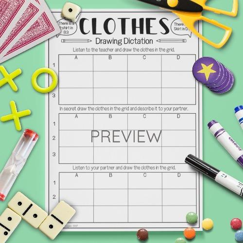 ESL English Clothes Drawing Dictation Game Activity Worksheet